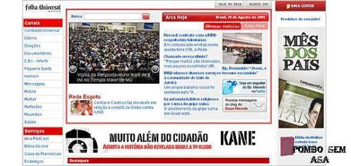 """Site da Igreja Universal do Reino de Deus destaca o filme """"Muito Além do Cidadão Kane"""" em sua página principal"""